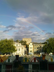 Norwich Castle with rainbow