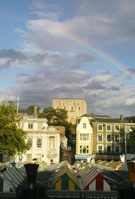 rainbow over Norwich castle and market